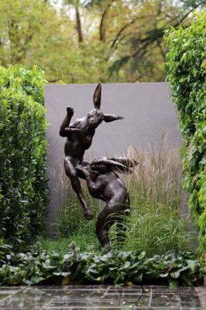 fighting rabbits statue, rabbits, garden statues